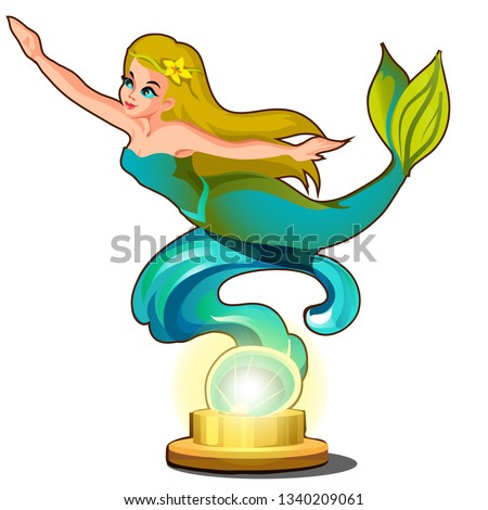 Statue of a young beautiful mermaid girl isolated on white background. Vector cartoon close-up illus Stock photo © Lady-Luck