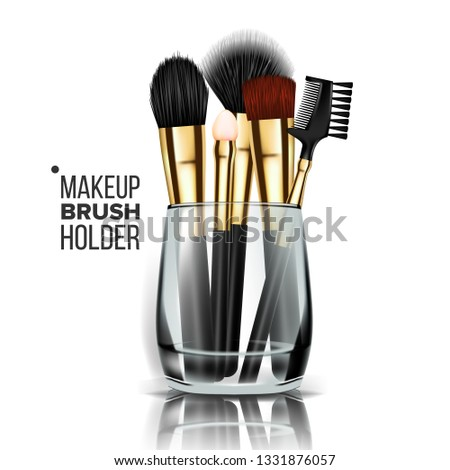 Makeup Brush Holder Vector. Glass Cup. Professional Woman Facial Equipment. Realistic Isolated Illus Stock photo © pikepicture