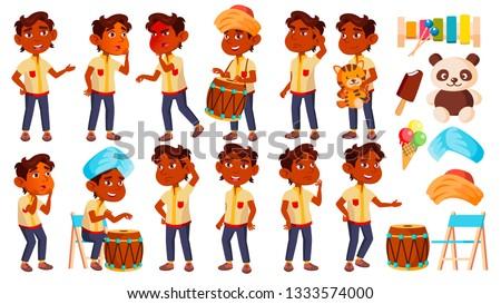 Indian jongen kleuterschool kid ingesteld vector Stockfoto © pikepicture