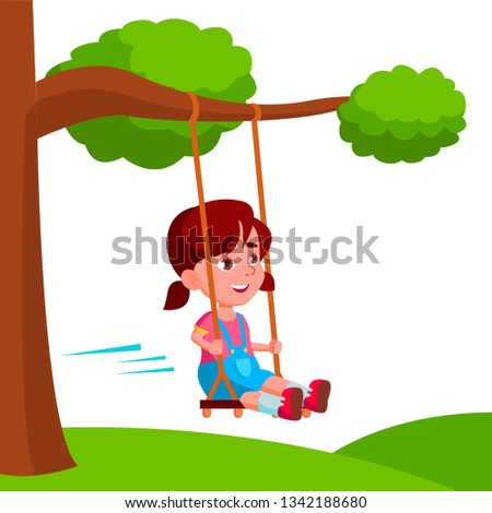 Lány hinta faág vektor rajz illusztráció Stock fotó © pikepicture