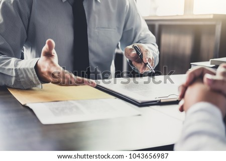 Lawyer or judge consult meeting with client at a law firm about  Stock photo © snowing
