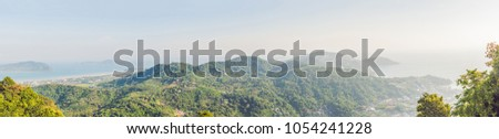 BIG panorama High angle view beautiful landscape of Ao Chalong bay and city sea side in Phuket Provi Stock photo © galitskaya
