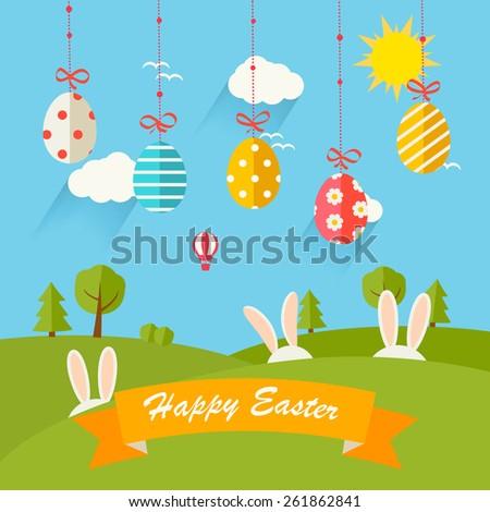 Colored Easter Eggs White Banner Ostern Stock photo © limbi007