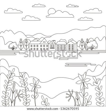 Stock photo: Thin line outline landscape rural farm. Panorama outdoor design village modern with mountain, hill,