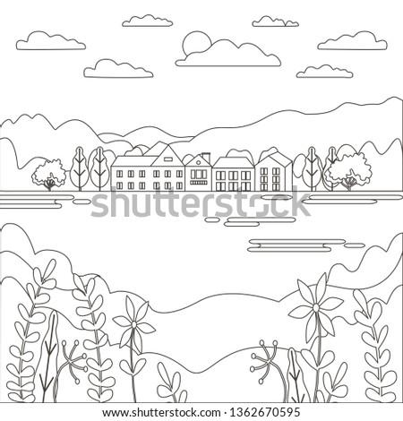 Thin line outline landscape rural farm. Panorama outdoor design village modern with mountain, hill,  stock photo © cosveta