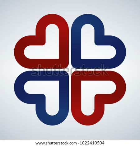 Stock photo: Four hearts social vector symbol. Red and Blue. Heart cross logo