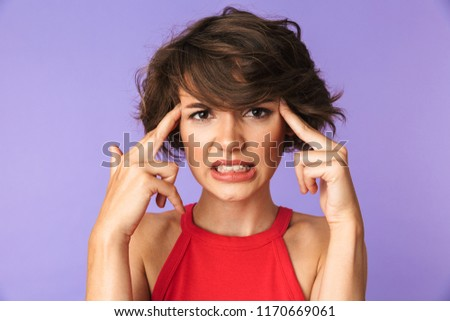 Image of gorgeous brunette woman 20s smiling and touching straw  Stock photo © deandrobot