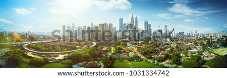 Kuala Lumpur skyline, view of the city, skyscrapers with a beautiful sky in the morning Stock fotó © galitskaya