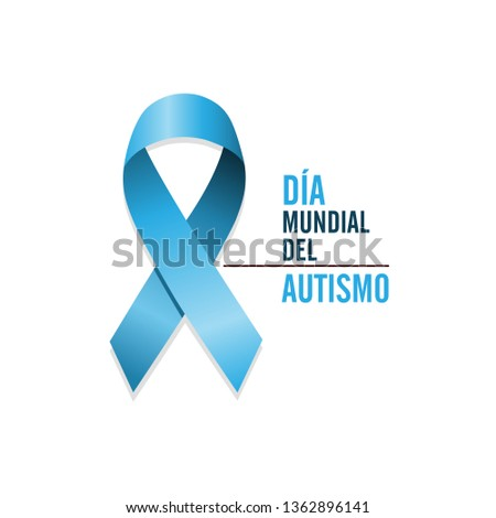 Blue autism ribbon with spanish text. International autism awareness day Foto stock © Imaagio