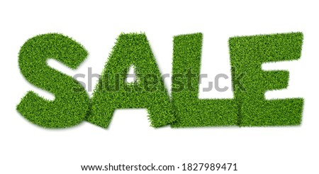 spring sign in green grass vector realistic spring sales banner on white backgrounds stock photo © frimufilms