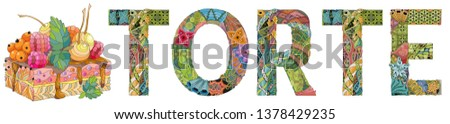 Word TORTE with piece of cake. Vector decorative zentangle object Stock photo © Natalia_1947