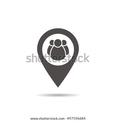 Meeting point location icon. Friends nearby. Drop shadow gps mar Stock photo © kyryloff