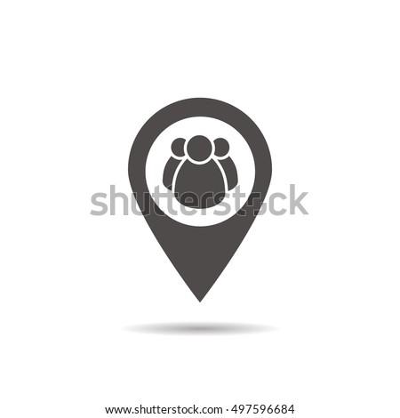 Meeting point location icon. Friends nearby. Drop shadow gps mar Stock photo © kyryloff