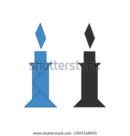 candle Tangram. Traditional Chinese dissection puzzle, seven tiling pieces - geometric shapes: trian Stock photo © kyryloff