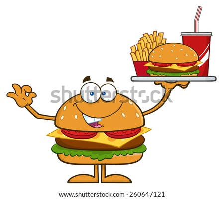 Hamburger Cartoon Character Holding A Platter With Burger, French Fries And A Soda Stock photo © hittoon