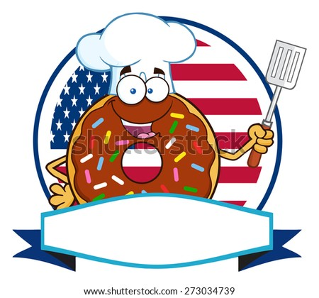 chef donut cartoon character with sprinkles over a circle blank label in front of flag of usa stock photo © hittoon