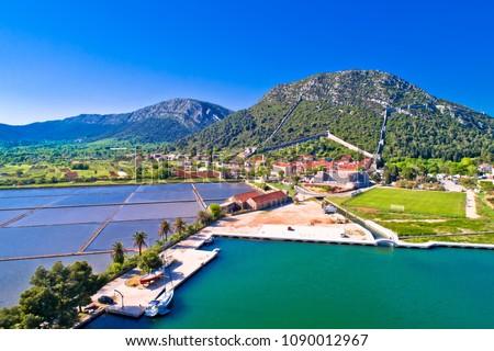 Town of Ston bay and salt fields aerial view, Peljesac peninsula Stock photo © xbrchx