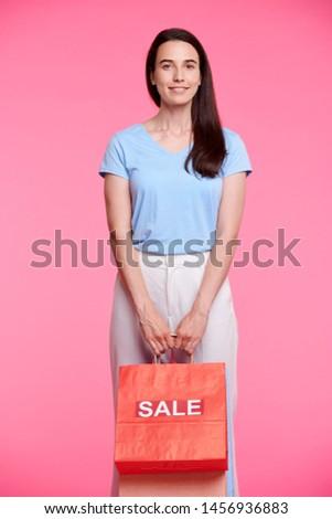 小さな ブルネット 買い物客 立って ストックフォト © pressmaster