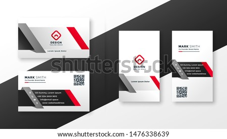corporate business card design template in red ang gray colors Stock photo © SArts