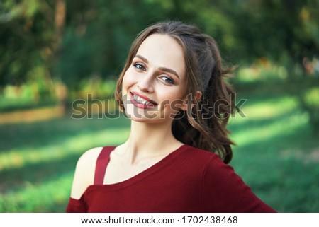 Piękna przepiękny młodych brunetka twarz kobiety portret Zdjęcia stock © serdechny