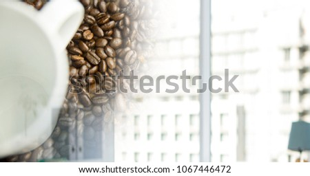 Witte koffiekopje bonen venster overgang Stockfoto © wavebreak_media