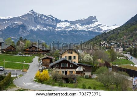 Widoku francuski alpy górskich w. wiosną Zdjęcia stock © tilo