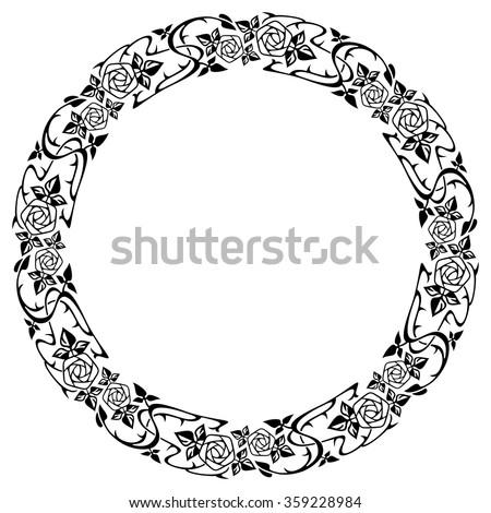 Vintage floral round frames. Black decorative ivy wreath. Vector illustration Stock photo © Imaagio