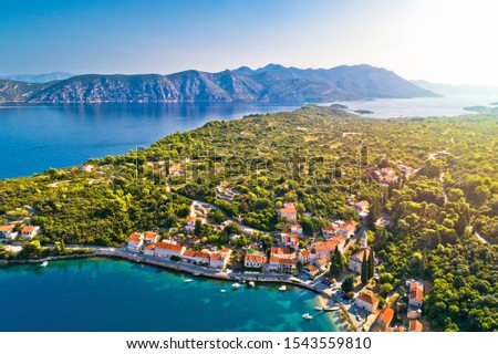Korcula and Peljesac. Idyllic coastal village of Racisce on Korc stock photo © xbrchx
