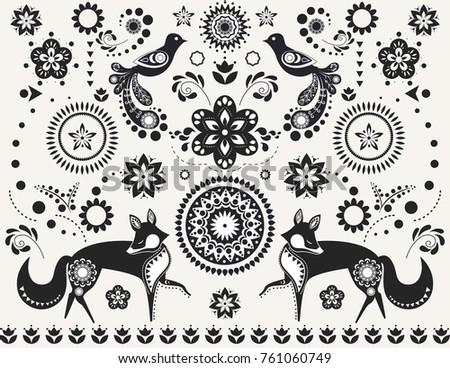 Scandinavian folk vector design pattern set - round and seamless design, cute floral ornament with b Stock photo © RedKoala
