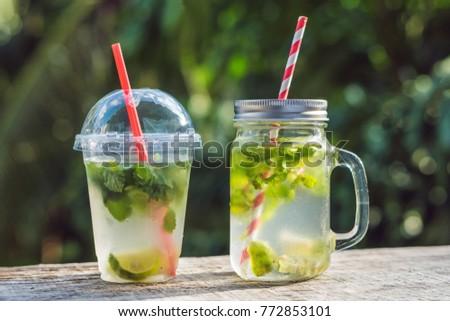 Zero waste concept. Use a plastic glass or mason jar. Zero waste, green and conscious lifestyle conc Stock photo © galitskaya
