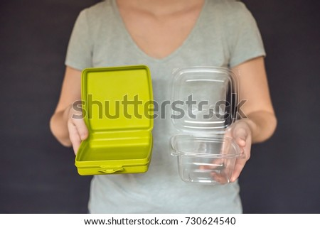 Zero waste concept. Use a reusable lunchbox or disposable dishes. Zero waste, green and conscious li Stock photo © galitskaya