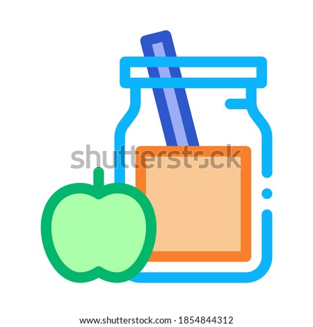 jar with healthy drink and apple biohacking icon vector illustration stock photo © pikepicture