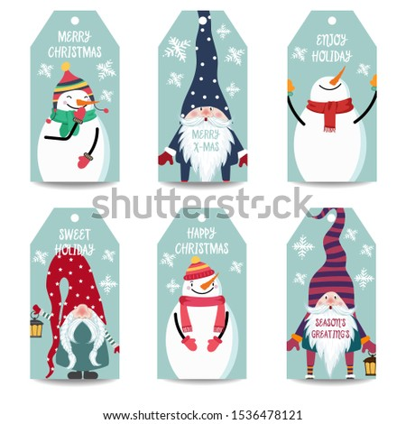 christmas card collection with snowman and gnomes labels stick stock photo © balasoiu