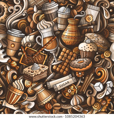 Cartoon hand-drawn doodles of cafe, coffee shop seamless pattern Stock photo © balabolka