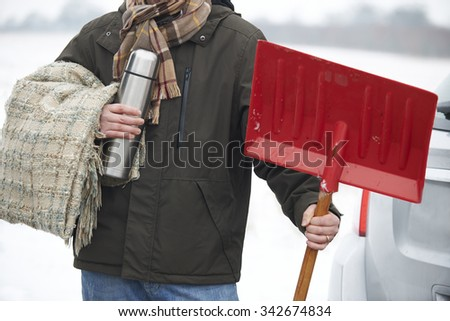Motorist Holding Blanket And Thermos In Case Of Winter Breakdown Stock photo © HighwayStarz