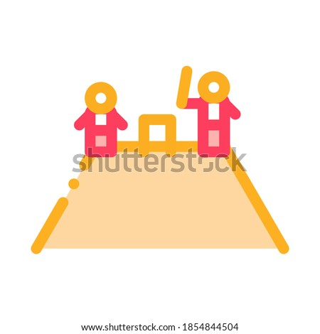 two cricket players on mountain icon vector outline illustration stock photo © pikepicture