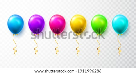 Realistic blue, green and gold balloons with shadow. Shine helium balloon for wedding, Birthday, par Stock photo © olehsvetiukha