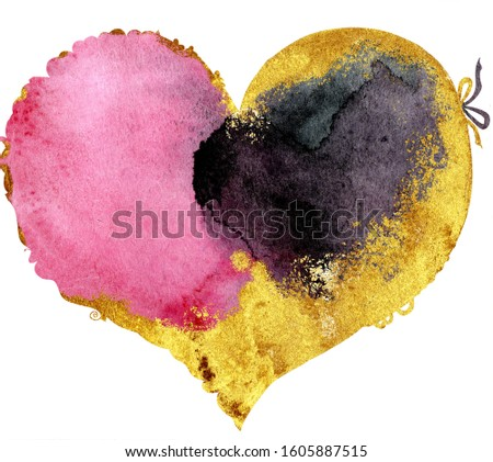 Watercolor pink and black heart with a lace edge with gold strokes Stock photo © Natalia_1947