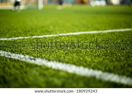 Soccer pitch white line. Grass football field. Close up of sports grass venue Stock photo © matimix