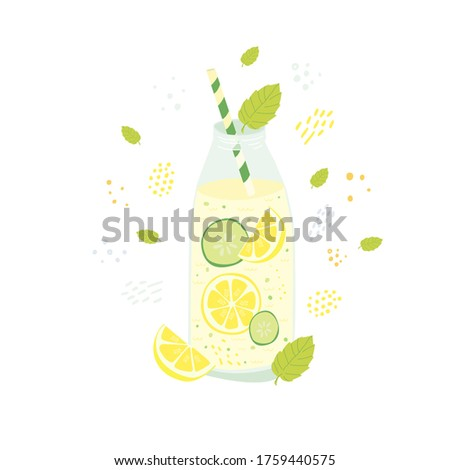 Szalag detoxikáló víz üvegek hozzávalók gyömbér Stock fotó © Illia