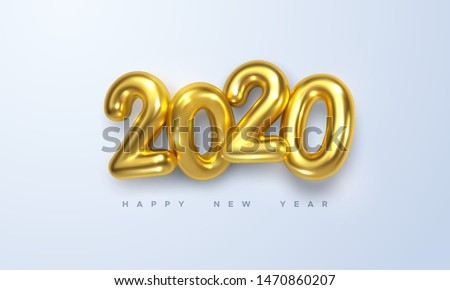 2020 New year card gift holiday gold decoration Stock photo © cienpies