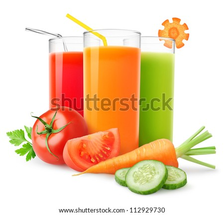 Glasses of fresh pressed carrot juice on white background. Homemade beverage for your healthy drink. Stock photo © vkstudio