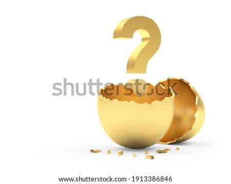 broken egg and question on white background. Isolated 3d illustr Stock photo © ISerg