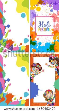 Four background design with happy holi festival theme Stock photo © bluering