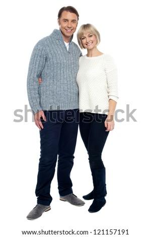 Portret vrolijk paar pose witte blij Stockfoto © vkstudio