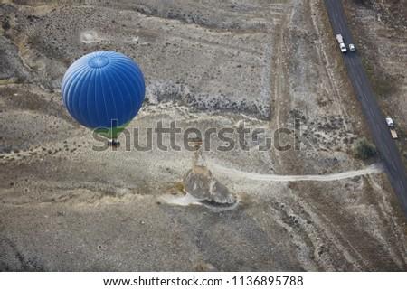 Blur luchtballon vliegen weg motor vervoer Stockfoto © Novic