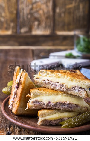 rustic american comfort food grilled cheese sandwich Stock photo © zkruger