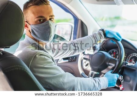 ストックフォト: 保護された · 女性 · ドライバ · 車 · 着用 · マスク