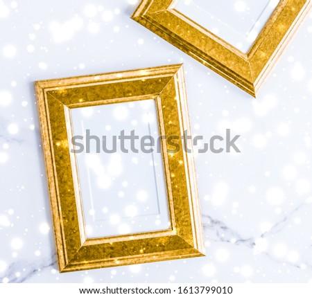 Arany fényképkeret izzó csillámlás hó márvány Stock fotó © Anneleven