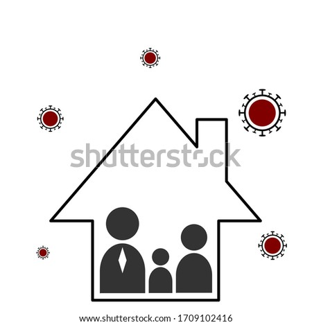 Stay Home. Stop Coronavirus Design with Falling Covid-19 Virus and Abstract House on Light Backgroun Stock photo © articular